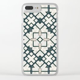 Victorian Art Deco Medieval Pattern light gray SB22 Clear iPhone Case