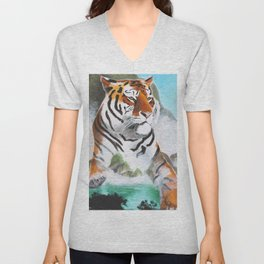 Quiet Tiger - big cat - animal - by LiliFlore Unisex V-Neck