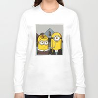minion Long Sleeve T-shirts featuring Minion Gothic by le.duc