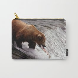 Bear Catching Salmon - Wildlife Photography Carry-All Pouch