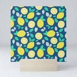 Summer Lemon Pattern in Navy Blue Mini Art Print
