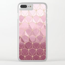 Pink gold geometric pattern Clear iPhone Case