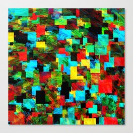 psychedelic geometric square pixel pattern abstract in red blue green yellow Canvas Print