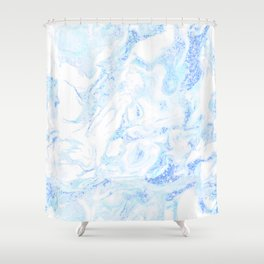 White Marble with Pastel Blue Purple Teal Glitter Shower Curtain