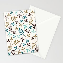 Assorted Leaf Silhouettes Teals Brown Gold Cream Ptn Stationery Cards