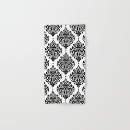 Black and White Damask Hand & Bath Towel