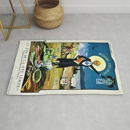 Vintage 1910 Absinthe Advertisement 'Prohibition - Death of Absinthe The Green Fairy' Poster Rug