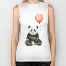 Baby Panda and Red Balloon Biker Tank