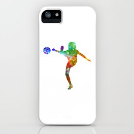 Woman soccer player 17 in watercolor iPhone Case