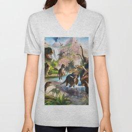 Jurassic dinosaur Unisex V-Neck