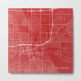 Des Moines Map, USA - Red Metal Print