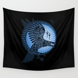 Viking Raven of Death - Blue Wall Tapestry