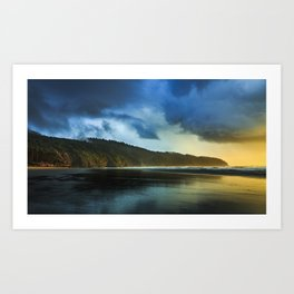Cape Lookout Thunderstorm at Sunset Art Print