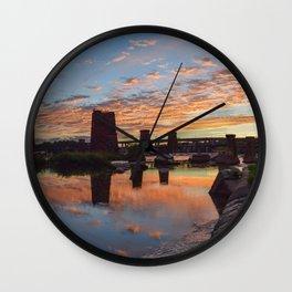 Panoramic River Sunset Wall Clock