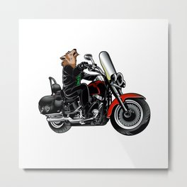Wolf on the motorcycle Metal Print