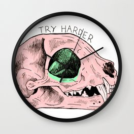 Try Harder Cat Skull Wall Clock