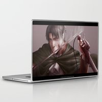 shingeki no kyojin Laptop & iPad Skins featuring Shingeki no Kyojin - Levi by Paleblood