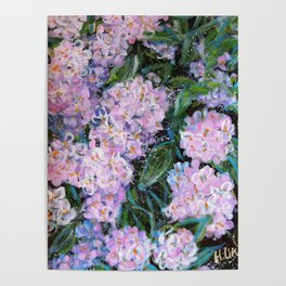 BLESSEDNESS -HYDRANGEA 1- Original abstract floral painting by HSIN LIN / HSIN LIN ART Poster