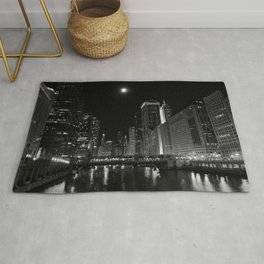 Downtown Chicago Night, Fine Art Black & White Photography Rug