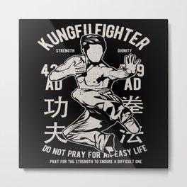Kung Fu Fighter Martial Arts Judo Chinese Karate Metal Print