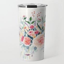 Flowers Bouquet Watercolor Travel Mug