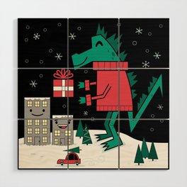 Kaiju Christmas Wood Wall Art