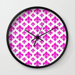 Pink Fleur de Lis Pattern Wall Clock