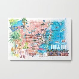 Miami Florida  Illustrated  Travel  Map  with  Roads  and  Highlights Metal Print
