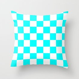 Checkered - White and Aqua Cyan Throw Pillow