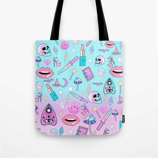 Girly Pastel Goth Witch Pattern Tote Bag