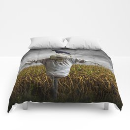 Scarecrow with Black Crows over a Cornfield Comforters