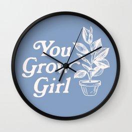 You Grow Girl Blue & Cream Wall Clock