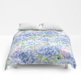 Botanical pink lavender watercolor hortensia floral Comforters