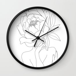 Minimal Line Art Woman Flower Head Wall Clock