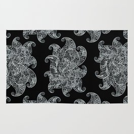 White and Black Zentangle Rug