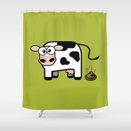 Pooping Cow Shower Curtain