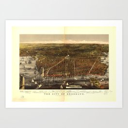 The City of Brooklyn, New York by Currier and Ives (1879) Art Print