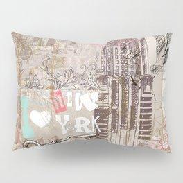 Vintage collage brown pink typography New York Landmark Pillow Sham