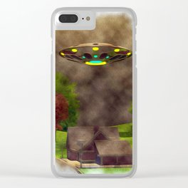 Home Visit - UFO Invasion Clear iPhone Case