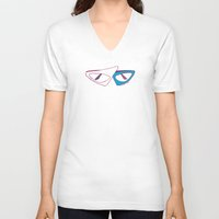 80s V-neck T-shirts featuring 80s Glasses by Addison Karl
