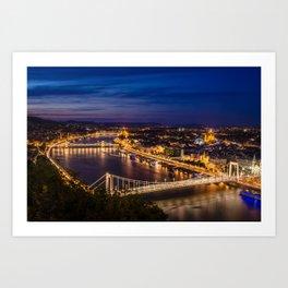 Budapest lit in artificial lights after sunset Art Print