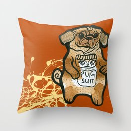 Pug Suit Throw Pillow