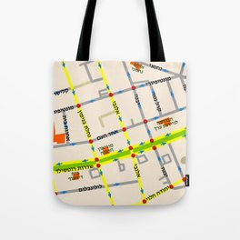 Tel Aviv map - Rothschild Blvd. Hebrew Tote Bag