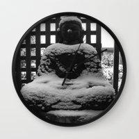 buddah Wall Clocks featuring Snowy Buddah by Nearlycanadian