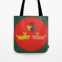 dogs Tote Bags featuring dogs by ValoValo