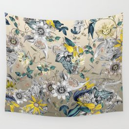 Exotic Fragrant Floral Garden in Gold Wall Tapestry