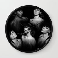 fifth harmony Wall Clocks featuring Fifth Harmony 'Reflection' Digital Painting by Emilia Apreda