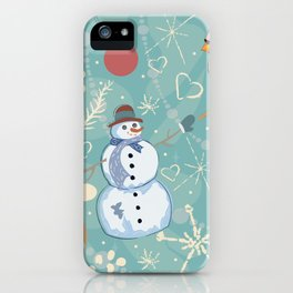Seamless Winter Pattern with Christmas Ornaments iPhone Case