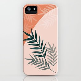 Pastel tone green leaves iPhone Case