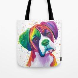 Rainbow Boxer Dog breeed Tote Bag
